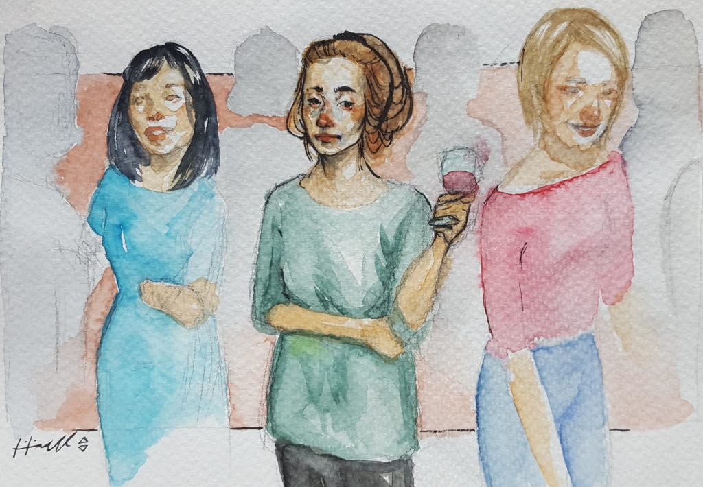 Min bekymring for å bli ensom i eget selskap gjør at jeg står i irritasjonen av folkemengden. Helt til jeg blir ensom midt i mengden. Illustrasjon: Lilian Särnmo.