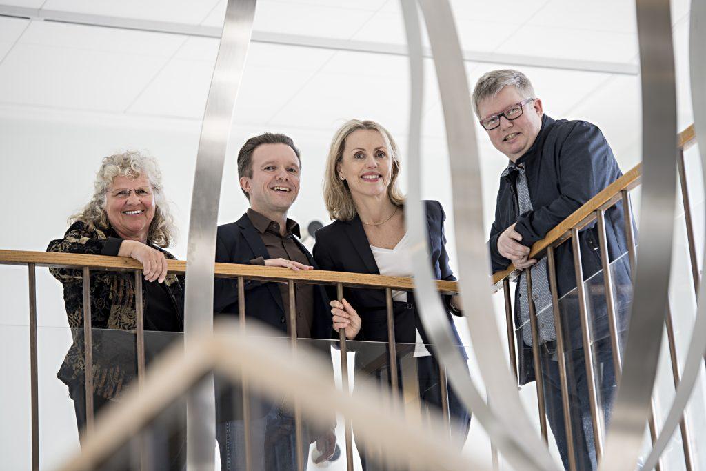 Det kommende dekanatet f.o.m. 1. august 2017: Bente Wold (t.v.), Per-Einar Binder , Gro Mjeldheim Sandal og Helge Molde.