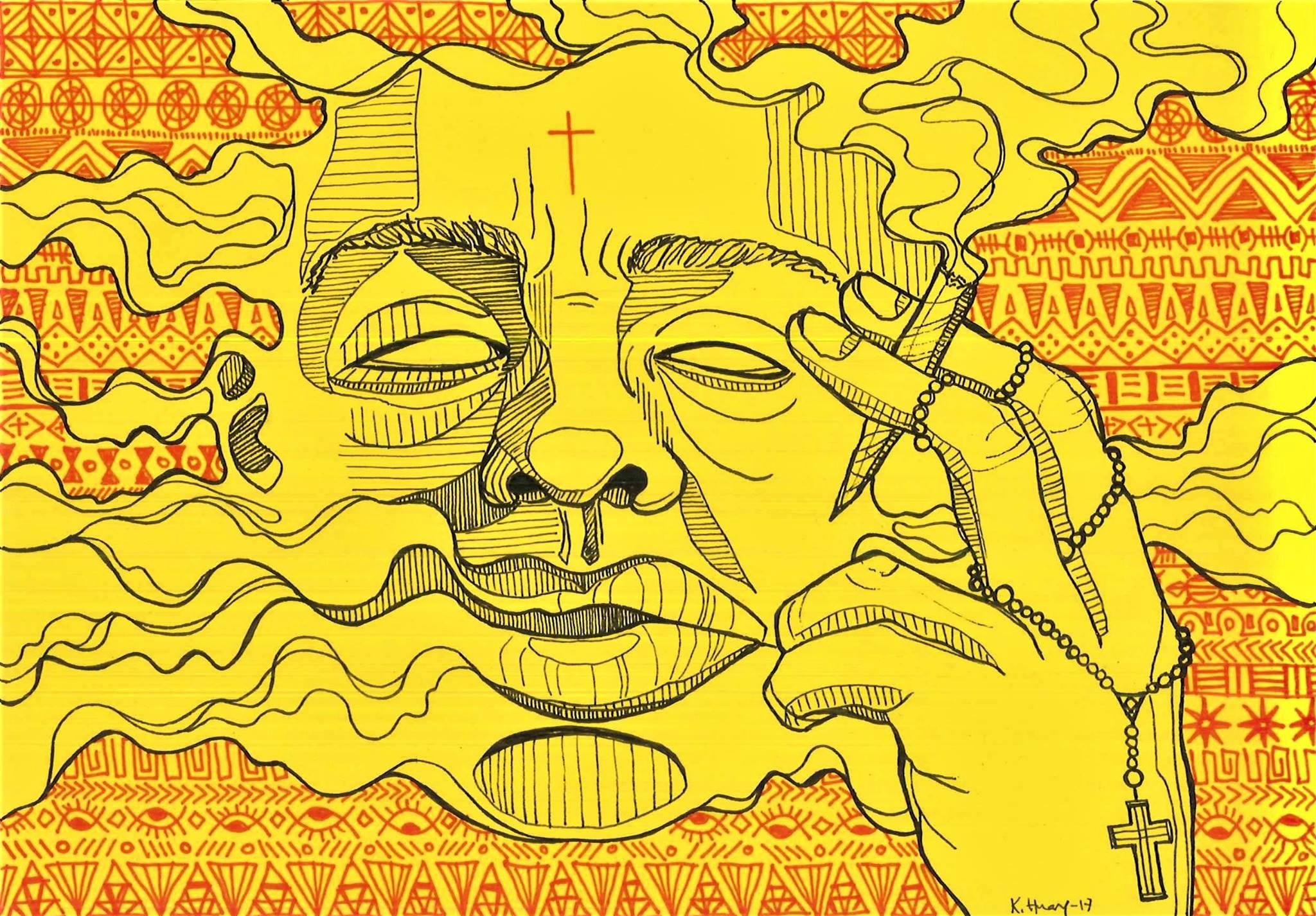 De to vanligste forklaringene på Misala(galskap), i Malawi, er forbannelser eller at det er forårsaket av marihuana. Illustrasjon: Kristin Huang.